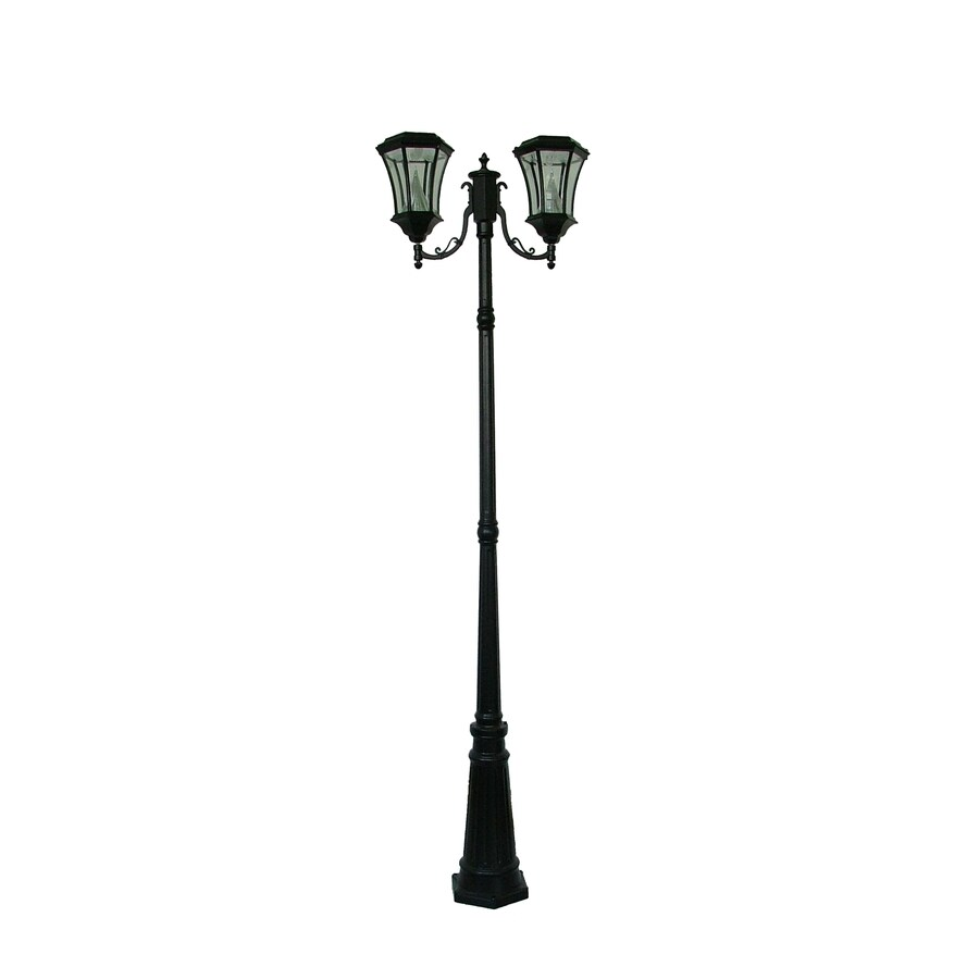 Gama Sonic Victorian 90-in H Black Solar LED Complete Post Light
