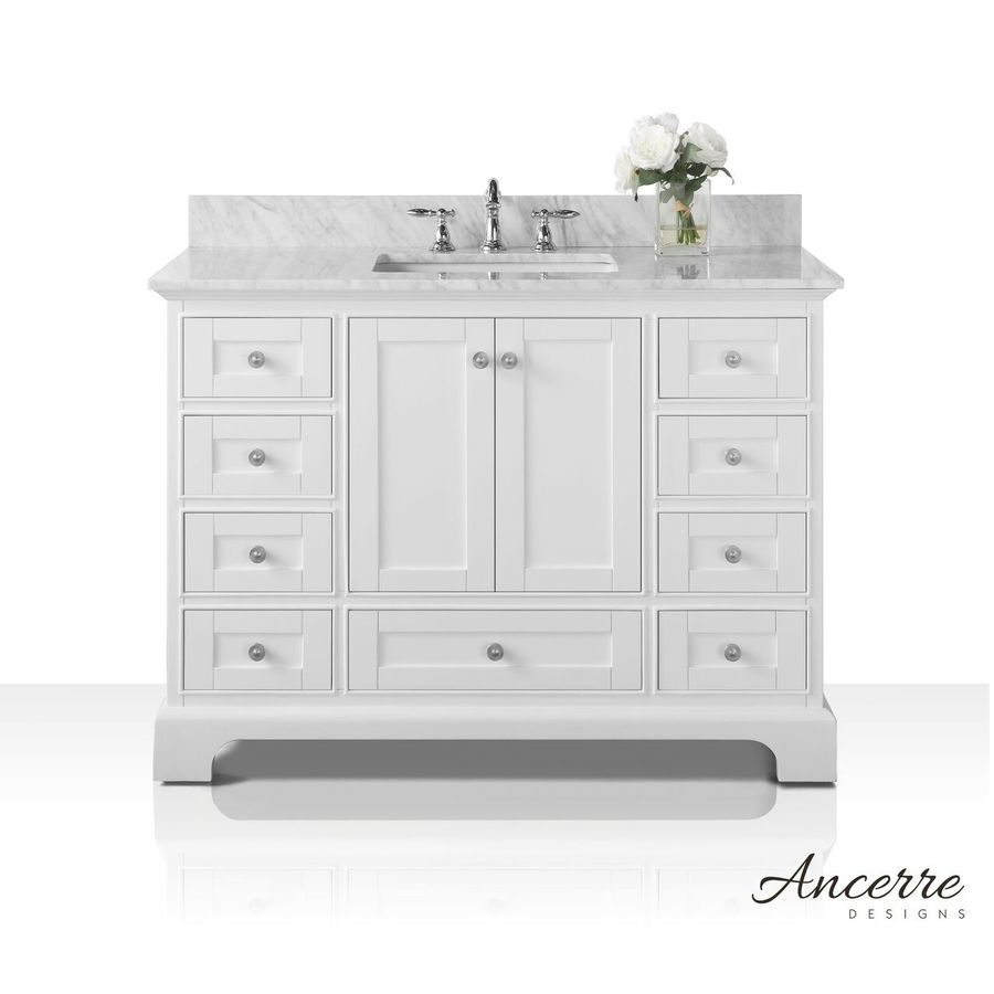Shop ancerre designs audrey white undermount single sink bathroom vanity with natural marble top Marble top bathroom vanities