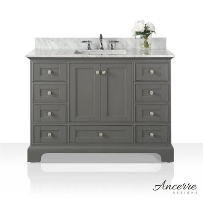 Audrey 48-in Sapphire Gray Single Sink Bathroom Vanity with Carrara on lowe's bathroom remodeling, lowe's flexible gas pipe, lowe's faucets for vessel sinks, cast iron undermount kitchen sinks, lowe's refrigerators, lowe's bathroom storage, lowe's windows, lowe's corner bathroom vanity, lowe's mop sinks, lowe's bidet seats, stainless steel kitchen sinks, lowe's bathroom faucets, lowe's bathroom vanities, lowe's bathroom kitchens, lowe's sink bowls, lowe's faucet hole plugs, lowe's brass faucets, lowe's commercial toilets, lowe's copper sinks, lowe's bathroom walls,