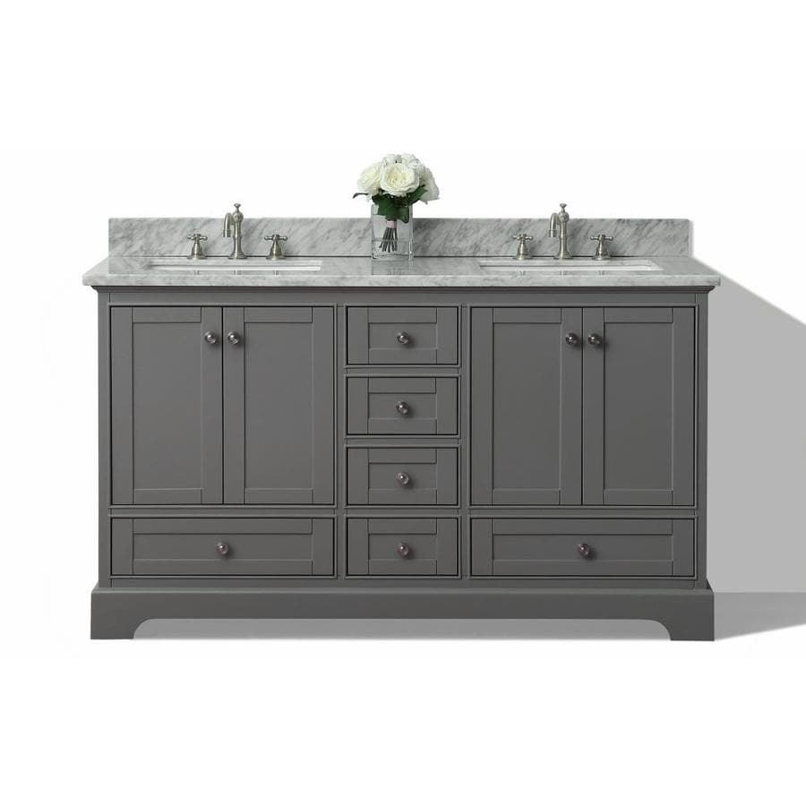 Bathroom sink cabinets white - Ancerre Designs Audrey Sapphire Gray 60 In Undermount Double Sink Birch Bathroom Vanity With Natural