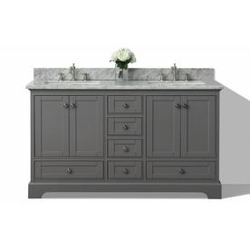Ancerre Designs Audrey Sapphire Gray Undermount Double Sink Bathroom Vanity  With Natural Marble Top (Common