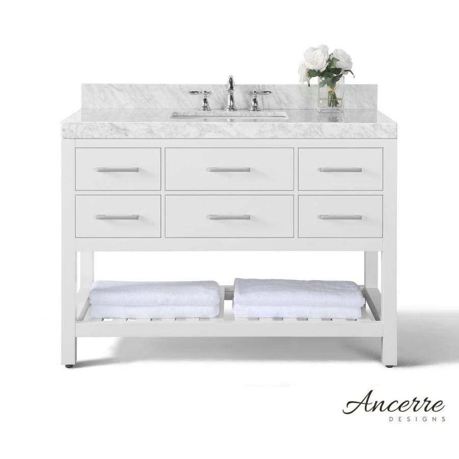 Ancerre Designs Elizabeth White Undermount Single Sink Bathroom Vanity With  Natural Marble Top (Common: