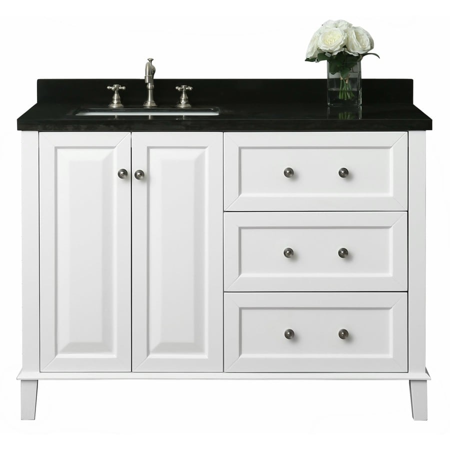 Ancerre Designs Hannah White Undermount Single Sink Bathroom Vanity With  Natural Marble Top Common