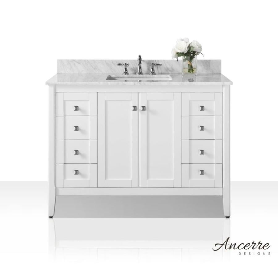 Ancerre Designs Shelton White Undermount Single Sink Bathroom Vanity With  Natural Marble Top (Common: