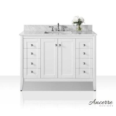 Shelton 48-in White Single Sink Bathroom Vanity with White Natural on natural lighting bathroom, natural wood bathroom, natural bathroom products, natural stone bathroom, natural bathroom design ideas, natural tile bathroom,