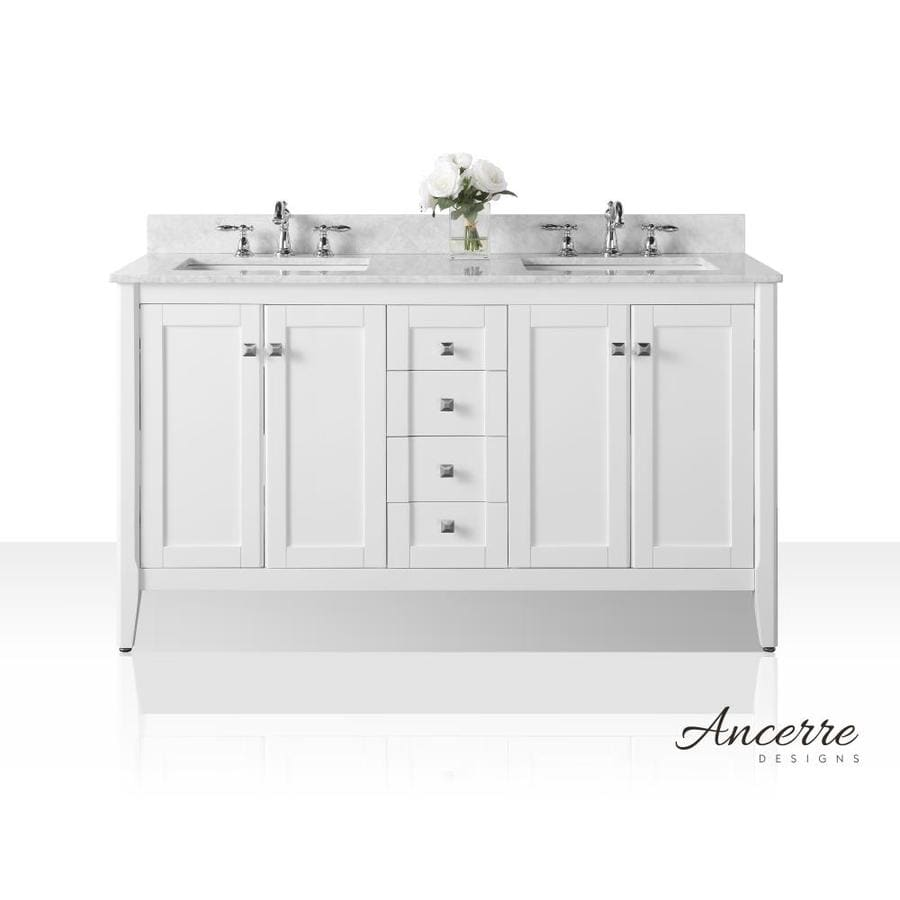 Ancerre Designs Shelton White Double Sink Vanity With White Natural Marble  Top (Common: 60