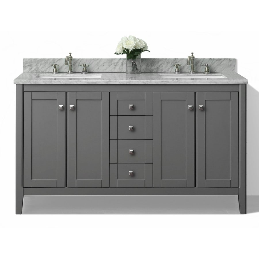 Shop ancerre designs shelton sapphire gray undermount double sink bathroom vanity with natural - Double sink vanity countertop ideas ...