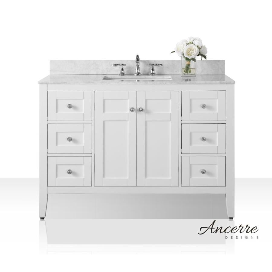 Ancerre Designs Maili White Undermount Single Sink Bathroom Vanity with Natural Marble Top (Common: