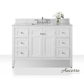 ancerre designs maili white undermount single sink bathroom vanity with natural marble top common - White Bathroom Cabinets And Vanities