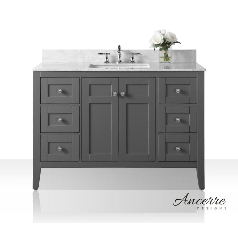 Ancerre Designs Maili Sapphire Gray Undermount Single Sink Bathroom Vanity with Natural Marble Top (Common: 48-in x 22-in; Actual: 48-in x 22-in)