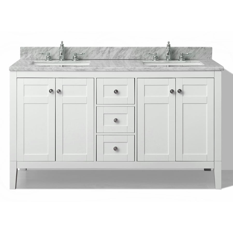 Shop ancerre designs maili white undermount double sink bathroom vanity with natural marble top - Double sink vanity countertop ideas ...