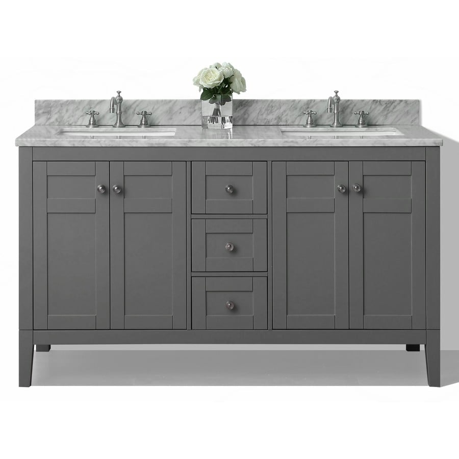 Ancerre Designs Maili Sapphire Gray 60-in Undermount Double Sink Birch Bathroom Vanity with Natural Marble Top