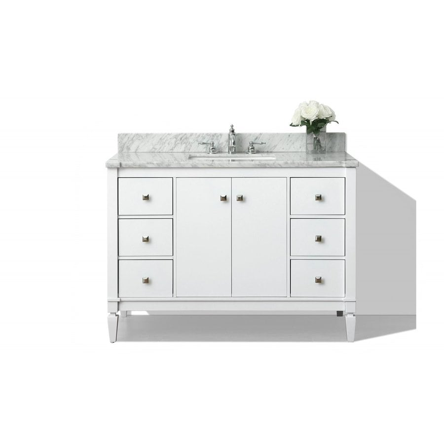 Ancerre Designs Kayleigh White Undermount Single Sink Bathroom Vanity with Natural Marble Top (Common: 48-in x 22-in; Actual: 48-in x 22-in)
