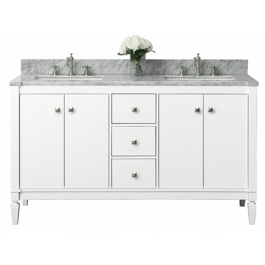 Ancerre Designs Kayleigh White Undermount Double Sink Bathroom Vanity with Natural Marble Top (Common: 60-in x 22-in; Actual: 60-in x 22-in)