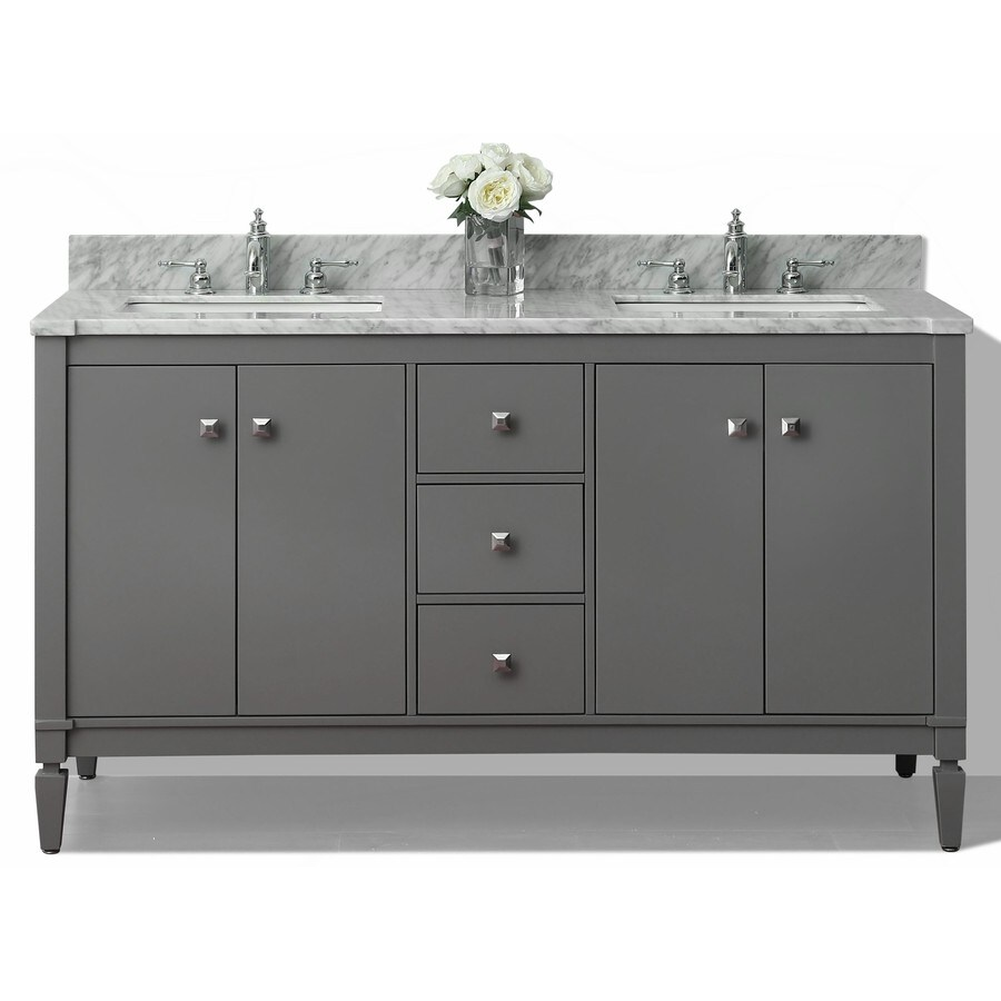 Ancerre Designs Kayleigh Sapphire Gray Undermount Double Sink Bathroom Vanity with Natural Marble Top (Common: 60-in x 22-in; Actual: 60-in x 22-in)