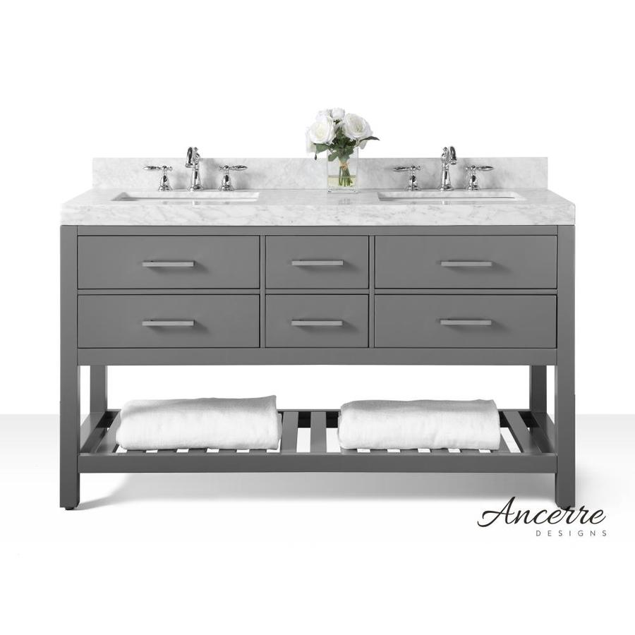 Ancerre Designs Elizabeth Sapphire Gray Double Sink Vanity With White  Natural Marble Top (Common: