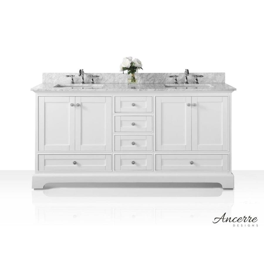 ancerre designs audrey white undermount double sink bathroom vanity with natural marble top common - White Bathroom Cabinets And Vanities