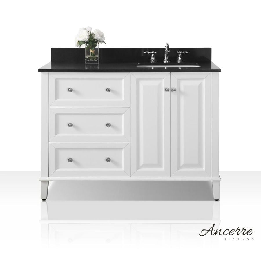 Ancerre designs hannah collection 48 in white single sink - White bathroom vanity with black top ...