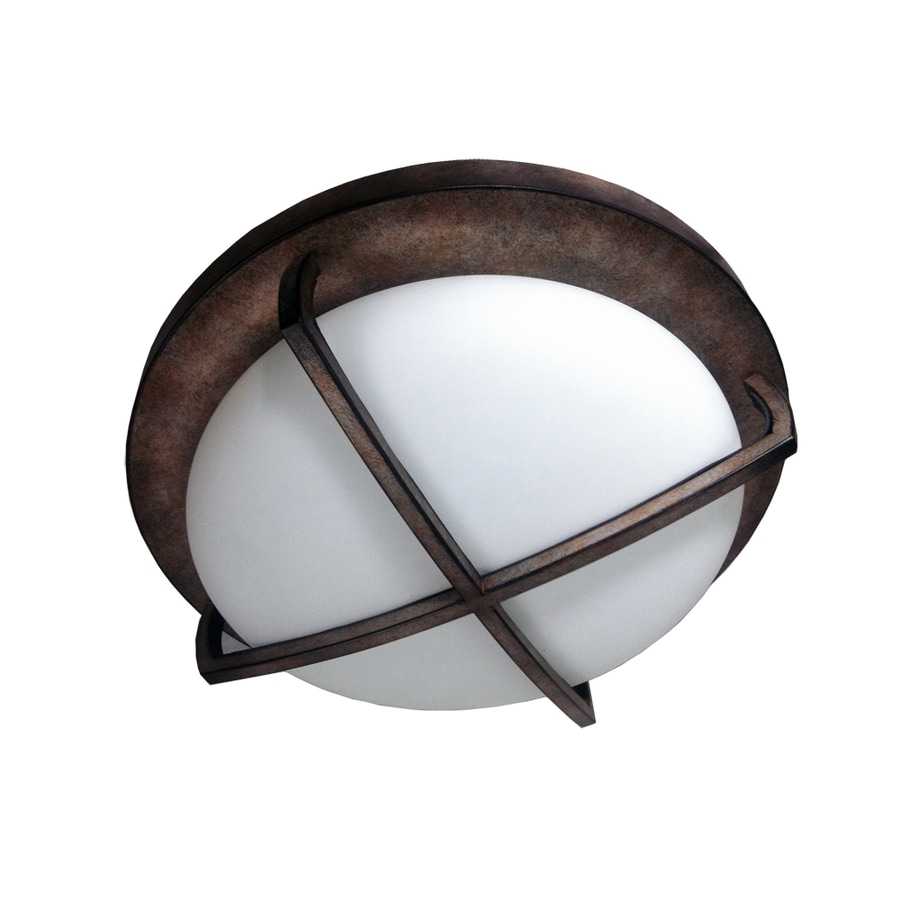 eLIGHT Industrial Chic 12-in W Burnished bronze Flush Mount Light