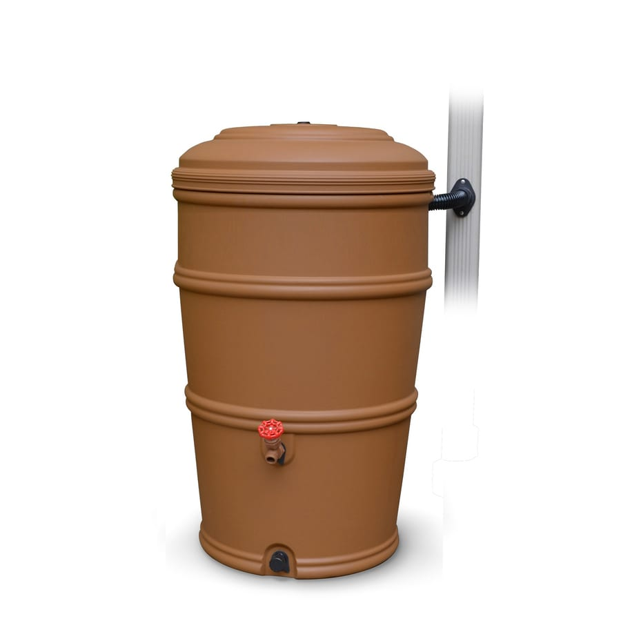 Earthminded 50 Gallon Terracotta Color Plastic Rain Barrel With