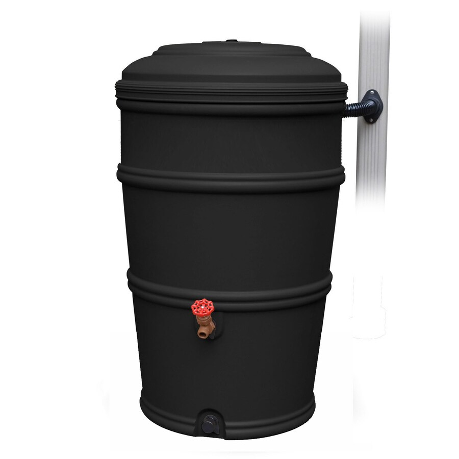 EarthMinded 50-Gallon Recycled Black HDPE Plastic Rain Barrel with Diverter and Spigot