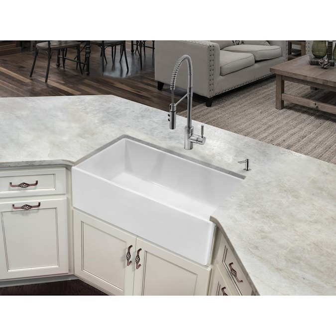 Superior Sinks Farmhouse Apron Front 33 In X 18 In White Single Bowl Kitchen Sink In The Kitchen Sinks Department At Lowes Com