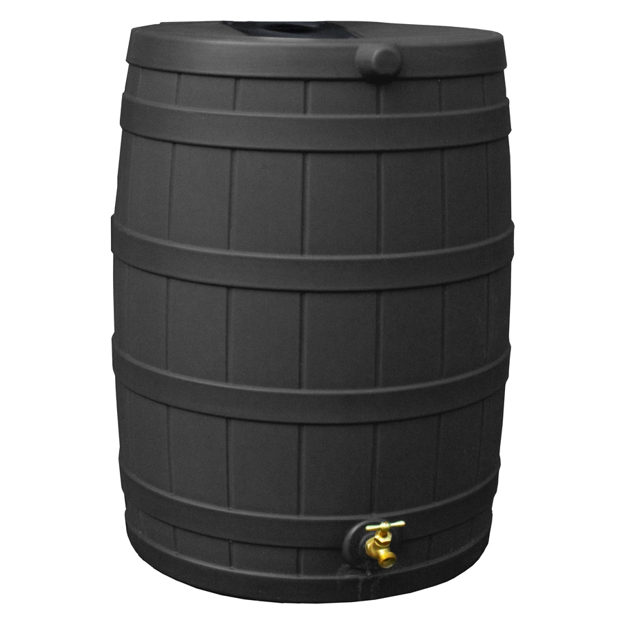 Rain Wizard 40-Gallon Black Recycled Plastic Rain Barrel with Spigot