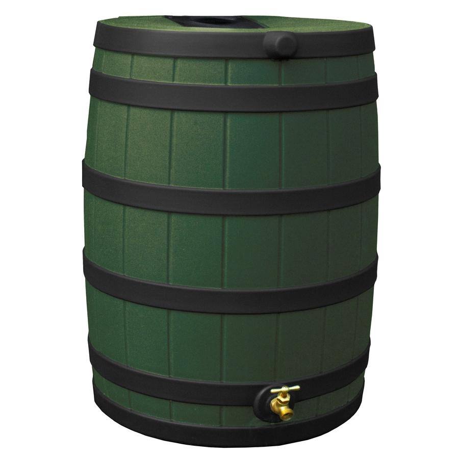 Rain Wizard 40-Gallon Green with Dark Ribs Plastic Rain Barrel with Spigot
