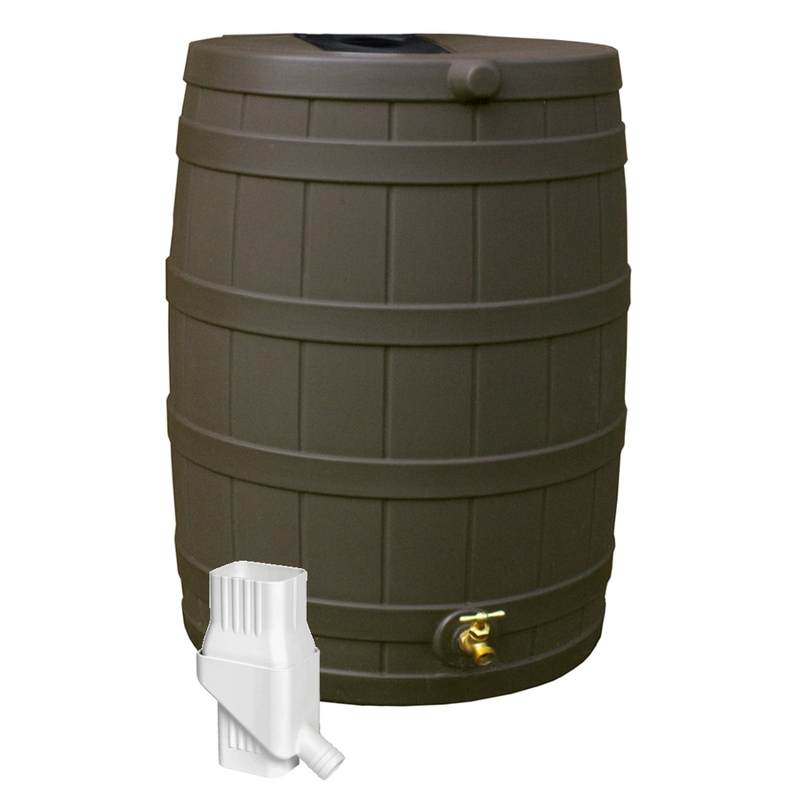Rain Wizard 50-Gallon Oak Plastic Rain Barrel with Diverter and Spigot