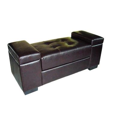 Strange Ore International Casual Dark Brown Storage Bench At Lowes Com Theyellowbook Wood Chair Design Ideas Theyellowbookinfo