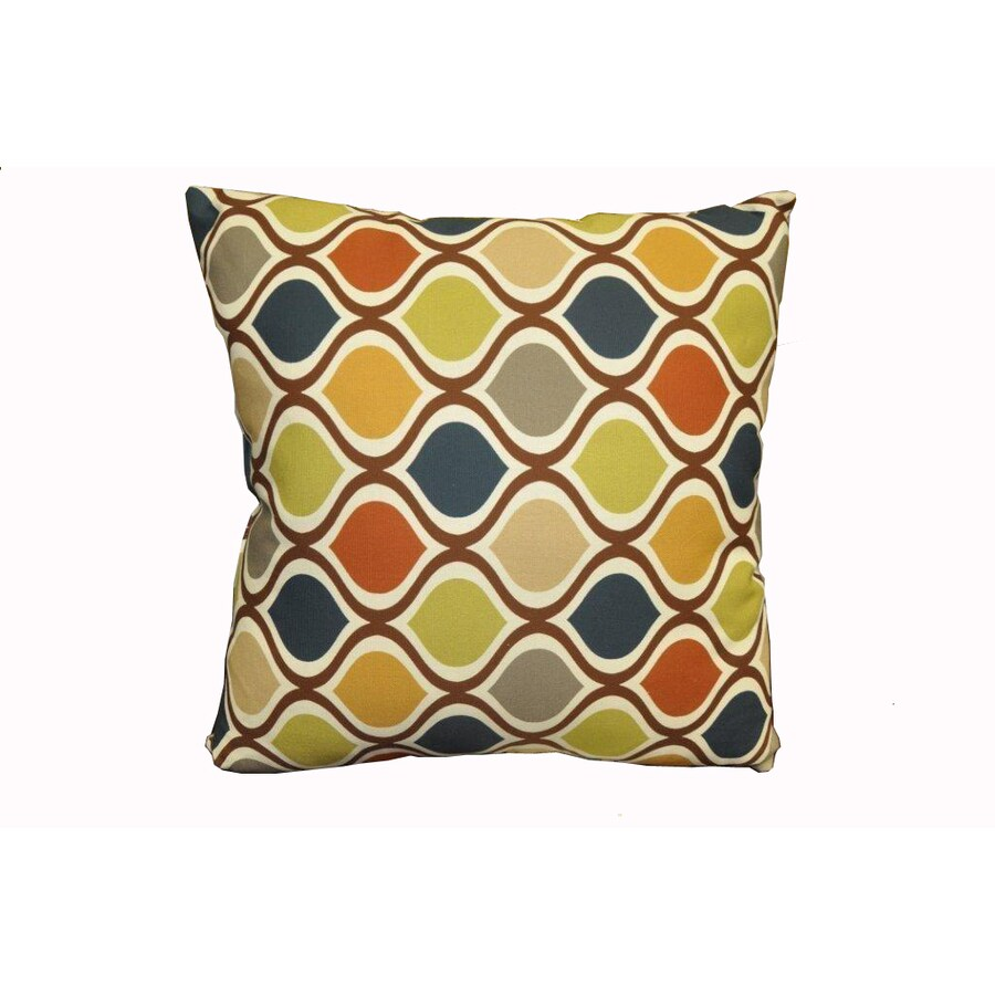 allen + roth Zig Zag Brown UV-Protected Outdoor Accent Pillow