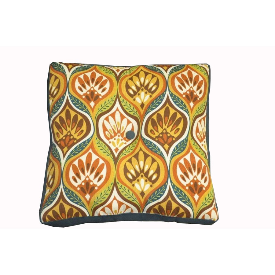 allen + roth Zig Zag Orange UV-Protected Outdoor Accent Pillow