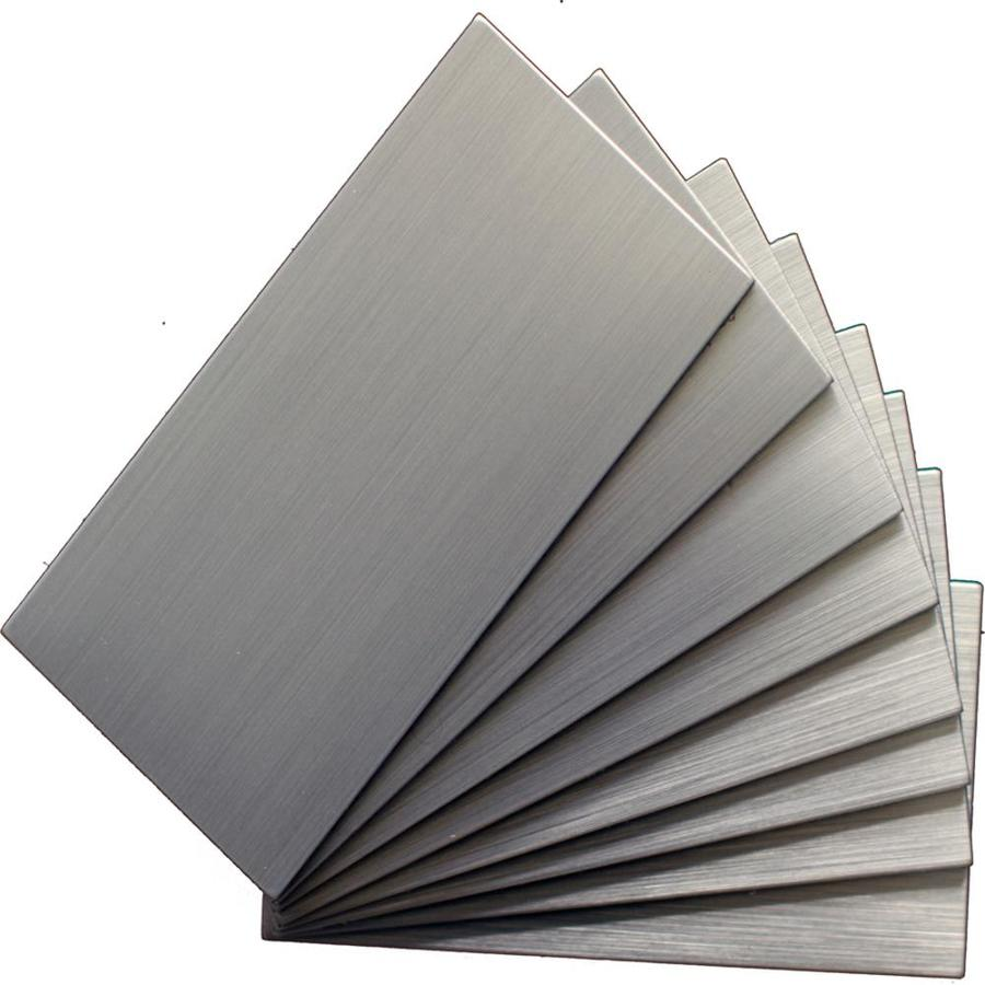 Instant Mosaic 48-Pack Brushed Stainless Metal Wall Tile (Common: 3-in x 6-in; Actual: 3-in x 6-in)
