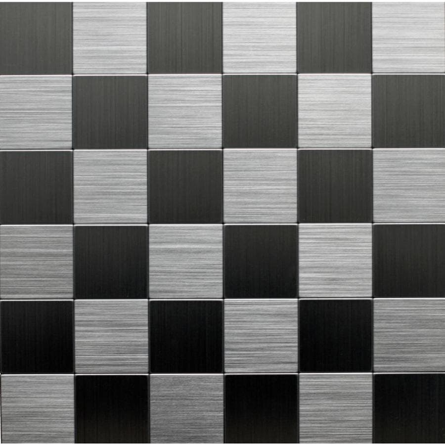 Instant Mosaic 6-Pack Brushed Stainless Versailles Mosaic Metal Wall Tile (Common: 12-in x 12-in; Actual: 12-in x 12-in)