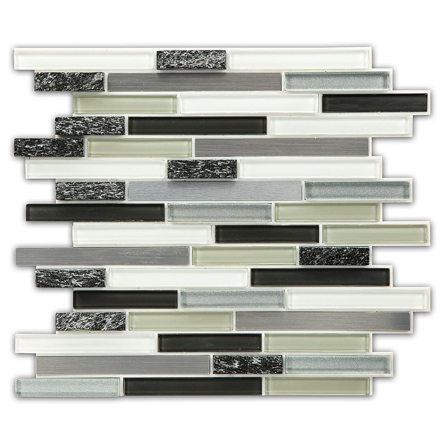 Instant Mosaic 6-Pack Grey Glass/Natural Stone/Metal Versailles Mosaic Glass/Metal/Stone Travertine Wall Tile (Common: 12-in x 14-in; Actual: 12-in x 14-in)