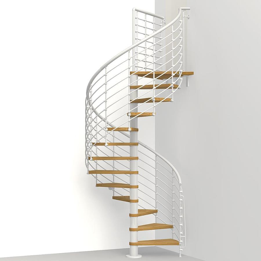 Etonnant Arke Oak Xtra 51 In X 10 Ft White Spiral Staircase Kit
