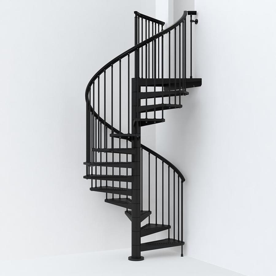 Arke sky030 63 in x 10 ft black spiral staircase kit at - Exterior metal spiral staircase cost ...