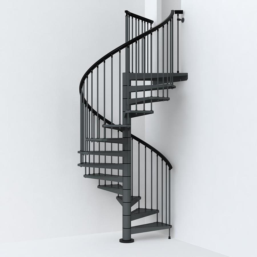 Spiral Staircase Lowes: Arke Sky030 63-in X 10-ft Iron Grey Spiral Staircase Kit