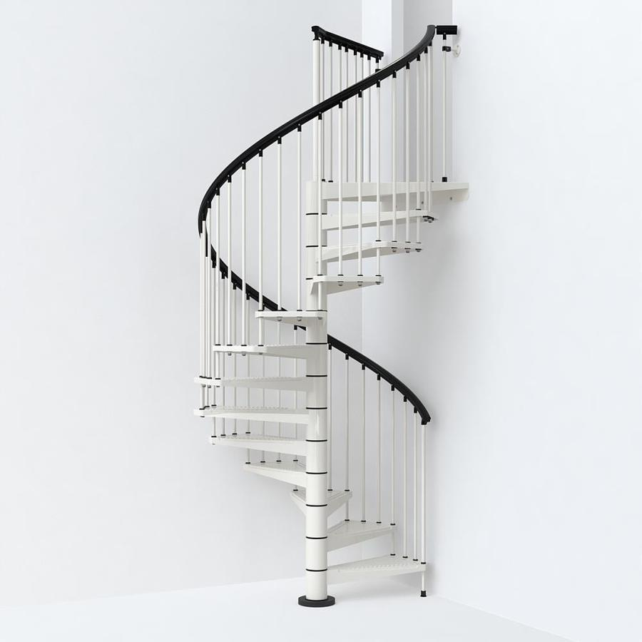 Compact Spiral Staircase: Arke Sky030 63-in X 10-ft White Spiral Staircase Kit At