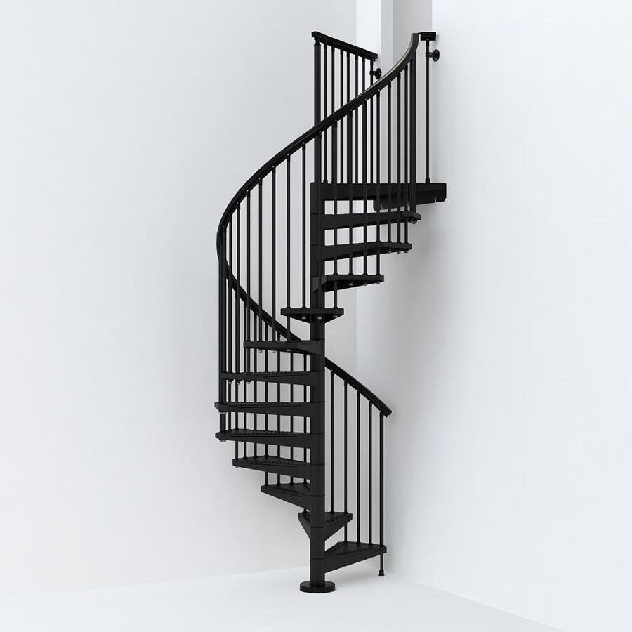 Spiral Staircase Lowes: Arke Sky030 55-in X 10-ft Black Spiral Staircase Kit At