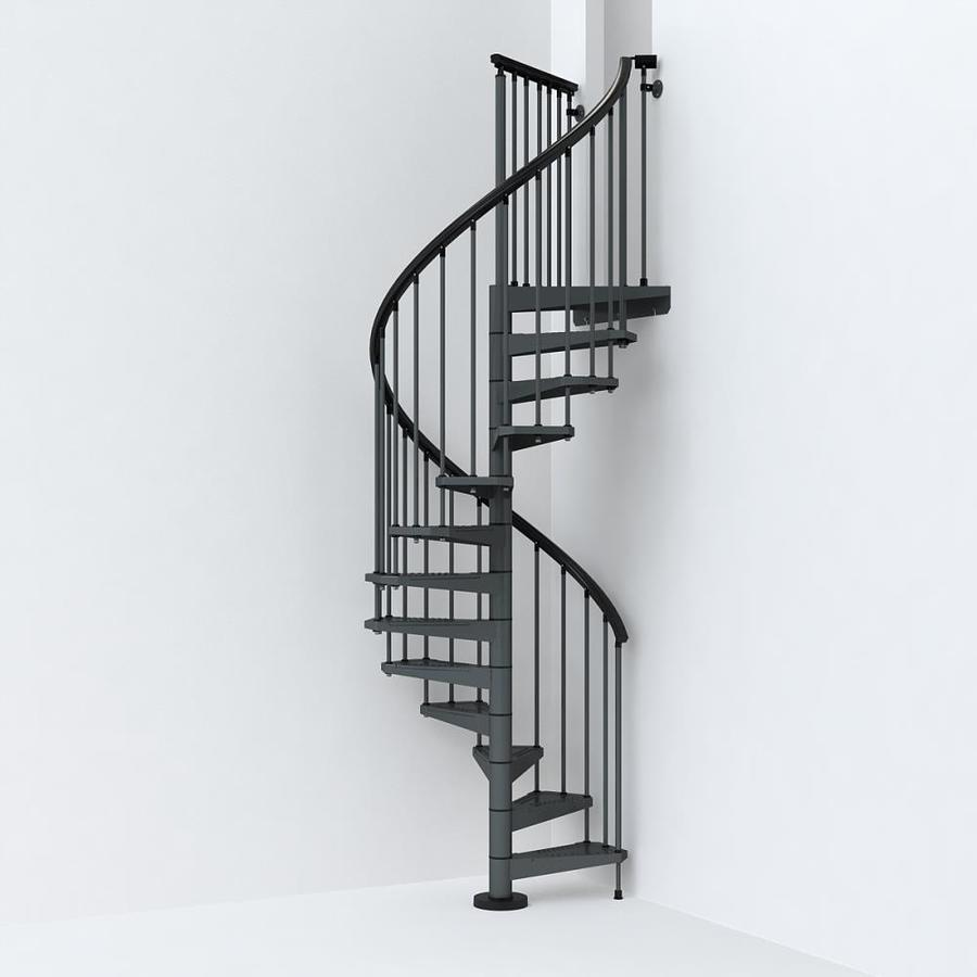 Spiral Staircase Lowes: Arke Sky030 47-in X 10-ft Iron Grey Spiral Staircase Kit