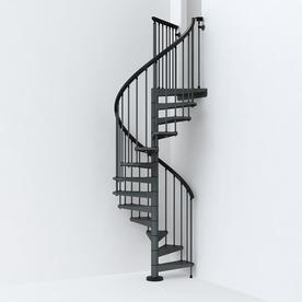 Arke SKY030 47 In X 10 Ft Iron Grey Spiral Staircase Kit