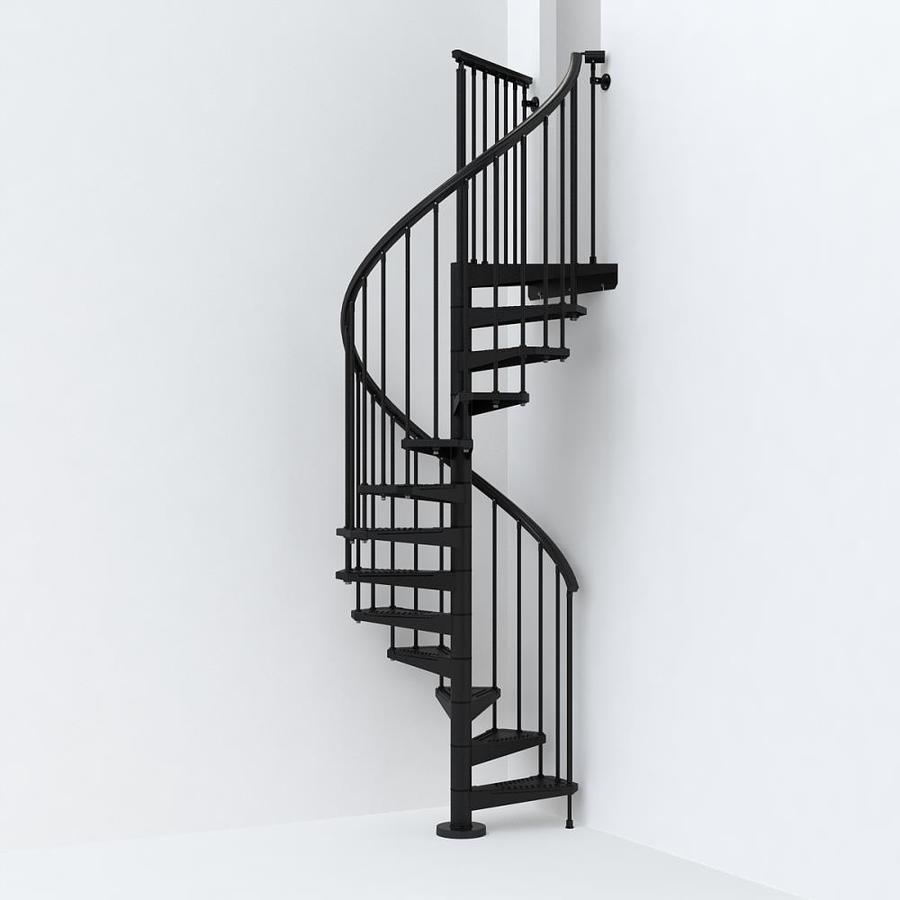 Spiral Staircase Lowes: Arke SKY030 47-in X 10-ft Black Spiral Staircase Kit At