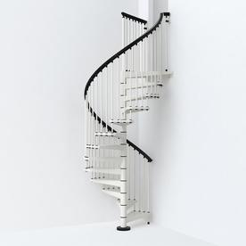 Arke SKY030 55 In X 10 Ft White Spiral Staircase Kit