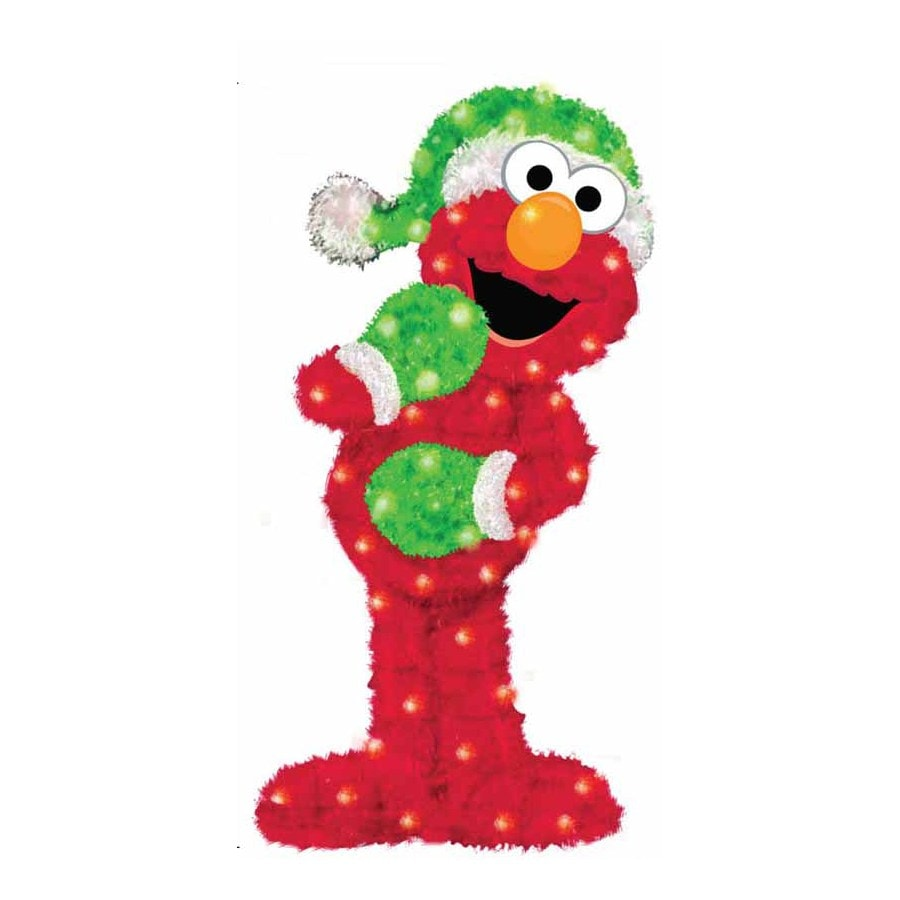 Sesame Workshop Pre-Lit Elmo Sculpture with Constant White Lights