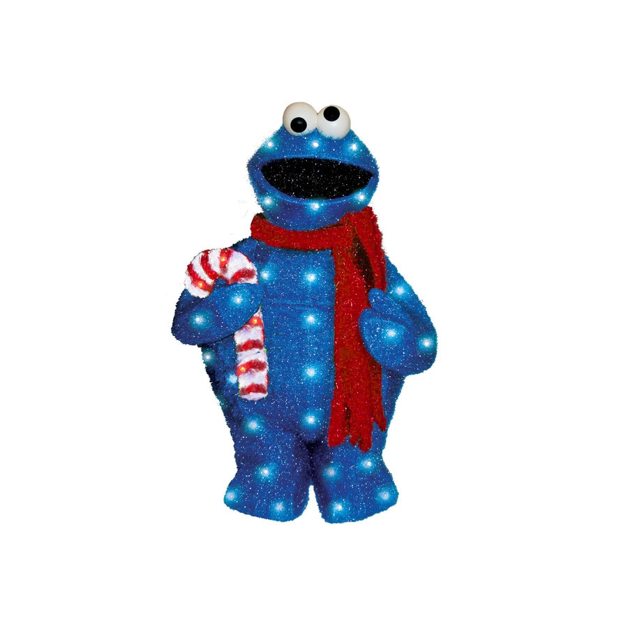 Sesame Workshop Pre-Lit Cookie Monster Sculpture with Constant White Lights