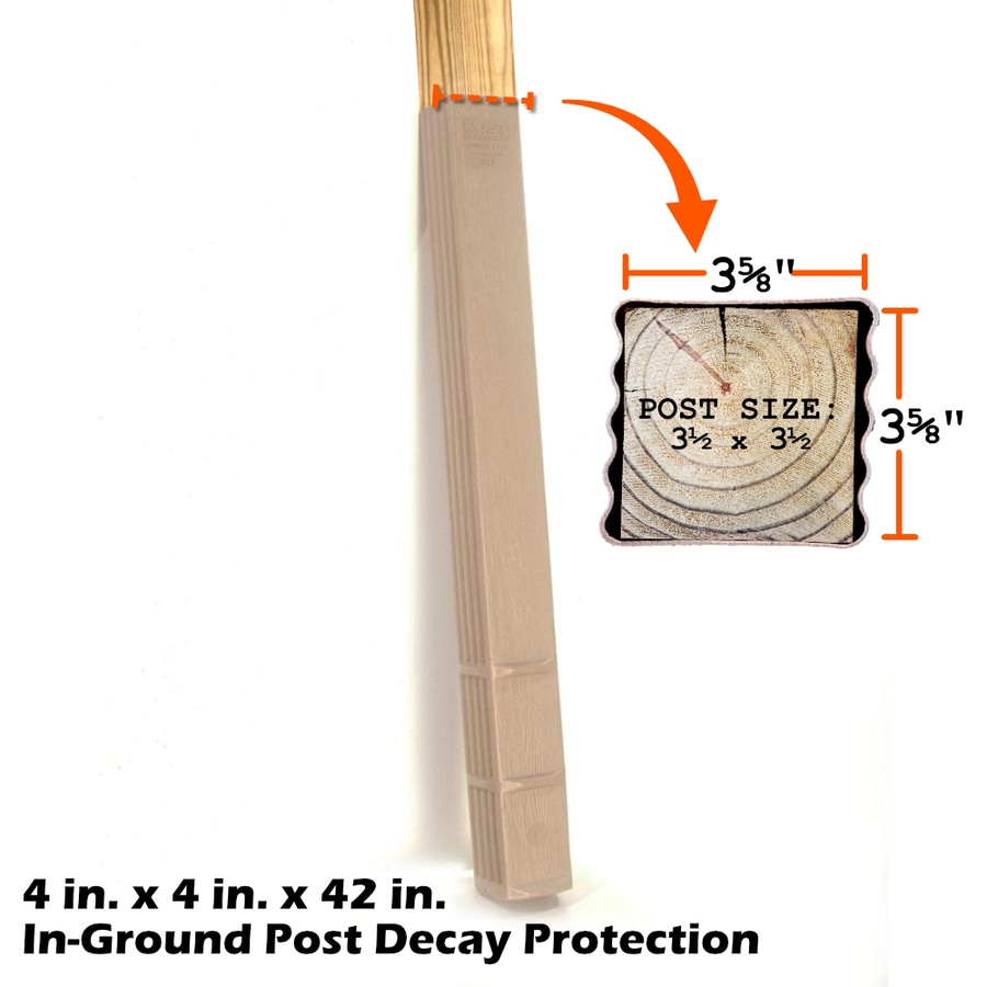 Post Protector Builder Clay Tone Grain HDPE Post Sleeve (Fits Common Post Measurement: 3-1/2-in x 3-1/2-in x 42-in; Actual: 3.75-in x 3.75-in x 42-in)