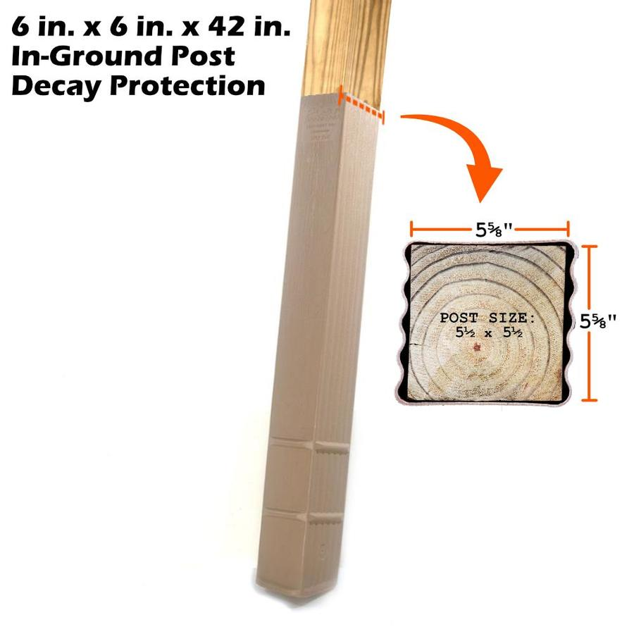 Post Protector Builder Clay Tone Grain HDPE Post Sleeve (Fits Common Post Measurement: x 42-in; Actual: 5.75-in x 5.75-in x 42-in)