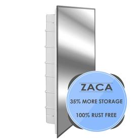 Zaca SpaceCab 16 In X 26 In Rectangle Recessed Mirrored Plastic Medicine  Cabinet