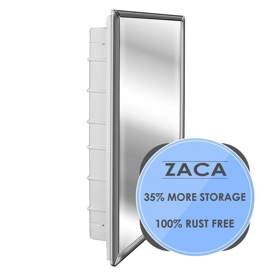 Zaca SpaceCab 16-in x 26-in Rectangle Recessed Mirrored Plastic Medicine Cabinet